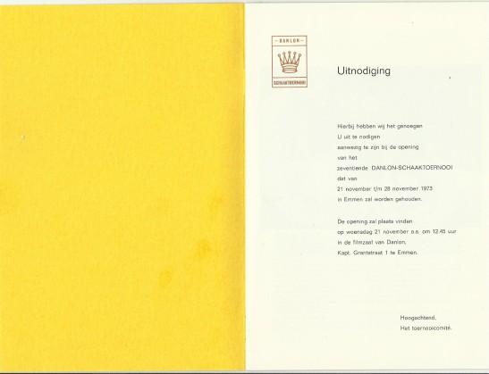 Pagina 1 toernooi folder 1973
